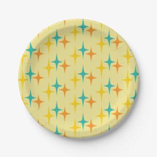 Prato De Papel Anos 50 astucioso - placa de papel do starburst