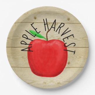 Prato De Papel Apple vermelho colhe as placas de papel do sinal