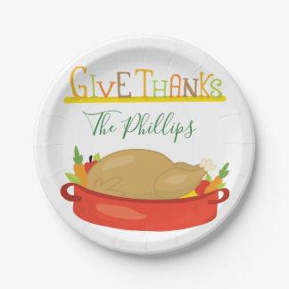 Prato De Papel Aprecie sua acção de graças Turquia