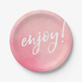 Prato De Papel Aprecie watercolour do rosa da placa do partido