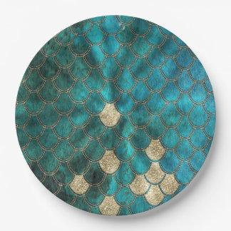 Prato De Papel Aqua Mermaidscales verde com brilho do ouro