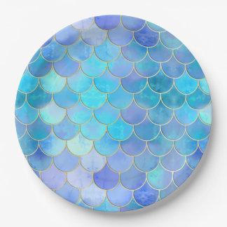 Prato De Papel Aqua Pearlescent & teste padrão da escala da