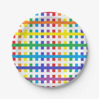 Prato De Papel Arco-íris abstrato e branco