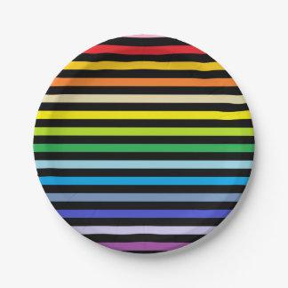 Prato De Papel Arco-íris mais largo do espectro e listras pretas