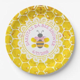 Prato De Papel Arco personalizado do rosa do chá de fraldas do