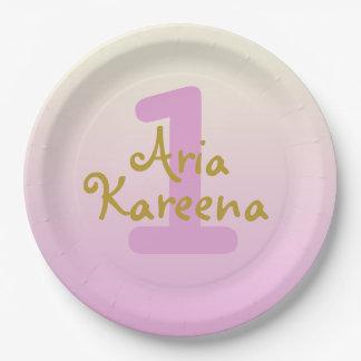"""Prato De Papel Ária Kareena 7"""" rosa bege de Ombre das placas de"""