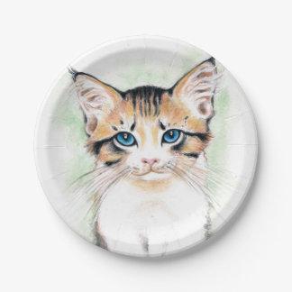 Prato De Papel Arte bonito da aguarela do gato malhado