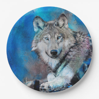 Prato De Papel Arte da aguarela do lobo
