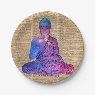 Prato De Papel Arte do dicionário do vintage de Buddha do espaço