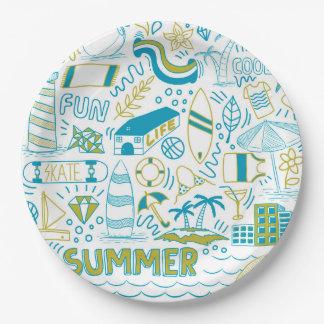 Prato De Papel Arte do Doodle do verão