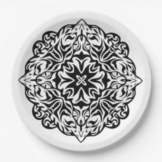 Prato De Papel Arte étnica da mandala maori polinésia do tatuagem