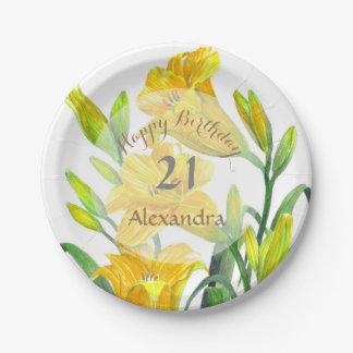 Prato De Papel Arte floral amarela dos lírios de dia