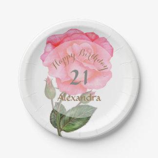 Prato De Papel Arte floral da ilustração da aguarela do rosa do