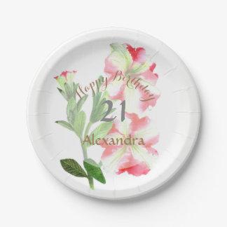 Prato De Papel Arte floral dos petúnias cor-de-rosa e brancos