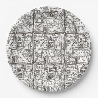 Prato De Papel Arte geométrica abstrata Subtil-Lunática do Doodle