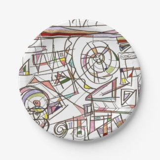 Prato De Papel Arte geométrica do Doodle do Irrisório-Abstrato