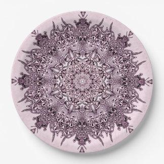 Prato De Papel Arte malva bonito da mandala nas placas de papel
