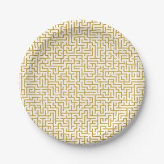 Prato De Papel Arte moderna elegante do labirinto - ouro & branco