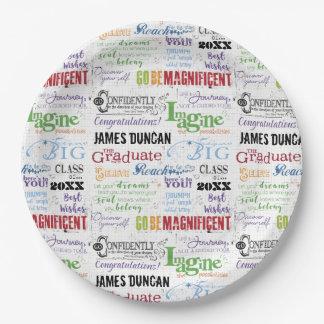 Prato De Papel Arte personalizada da palavra da graduação