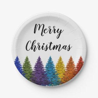 Prato De Papel Árvore de Natal lésbica da bandeira do arco-íris