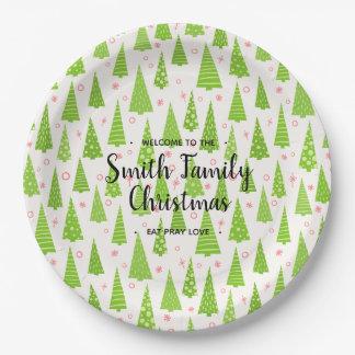 Prato De Papel Árvore de Natal, sua família nomeada Natal