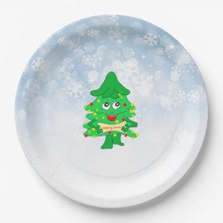 Prato De Papel árvore do Xmas do Feliz Natal