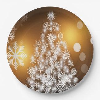 Prato De Papel Árvore dourada do floco de neve de Bokeh do Natal