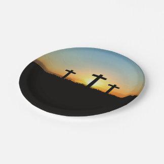 Prato De Papel As cruzes da crucificação no por do sol