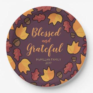 Prato De Papel As folhas da queda da acção de graças abençoaram o