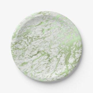 Prato De Papel As hortaliças brancas de pedra de mármore do verde