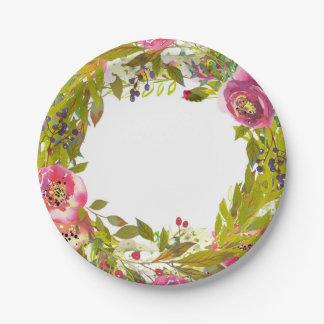 Prato De Papel As hortaliças saltam as flores florais cor-de-rosa