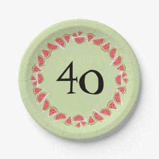 Prato De Papel As partes verdes da melancia circundam 40 placas