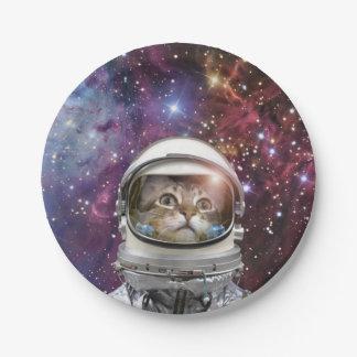 Prato De Papel Astronauta do gato - gato louco - gato