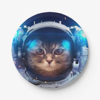 Prato De Papel Astronauta do gato - gatos no espaço - espaço do