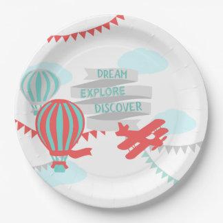 Prato De Papel Avião e balão do chá de fraldas da aventura