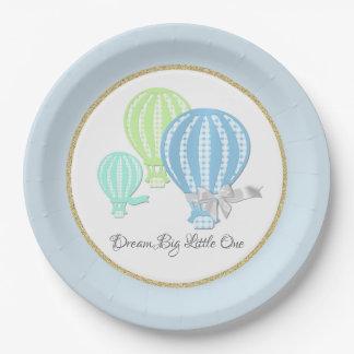 Prato De Papel Azuis bebés do balão de ar quente do guingão