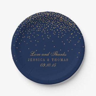 Prato De Papel Azuis marinhos & casamento Glam dos confetes do