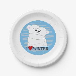 Prato De Papel Azul bonito polar da neve do abraço do inverno do