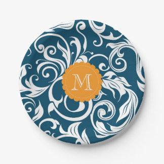 Prato De Papel Azul de pavão do papel de parede floral do partido