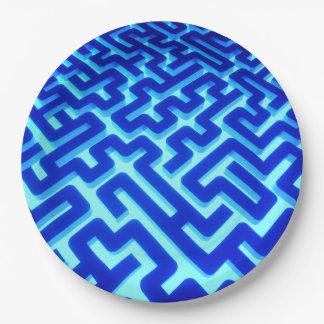 Prato De Papel Azul do labirinto