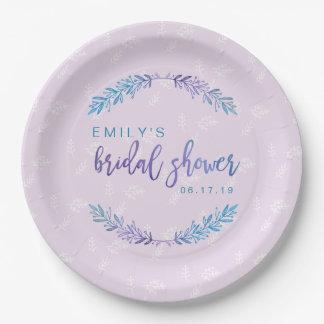 Prato De Papel Azul floral & roxo do chá de panela da aguarela