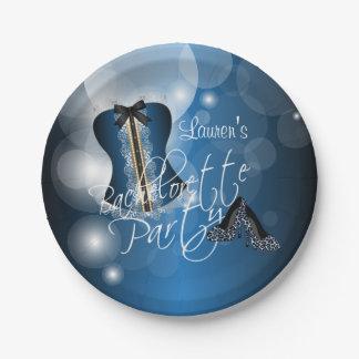 Prato De Papel Azul glamoroso da festa de solteira | da lingerie