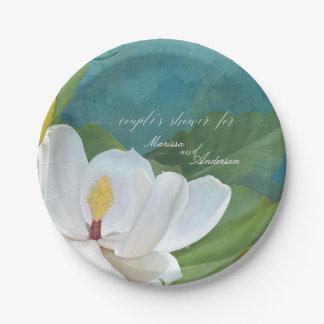 Prato De Papel Azul moderno da flor da flor da magnólia do chá