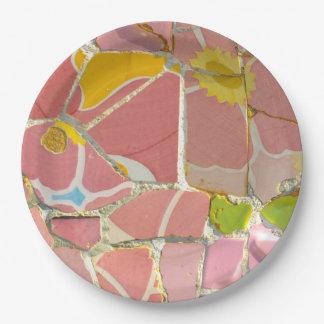 Prato De Papel Azulejos cor-de-rosa de Parc Guell na espanha de