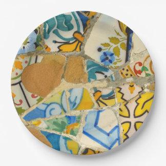 Prato De Papel Azulejos em Parc Guell na espanha de Barcelona