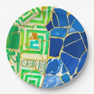Prato De Papel Azulejos verdes de Parc Guell na espanha de