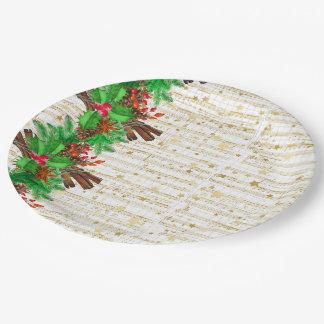 Prato De Papel Bagas do azevinho do Natal