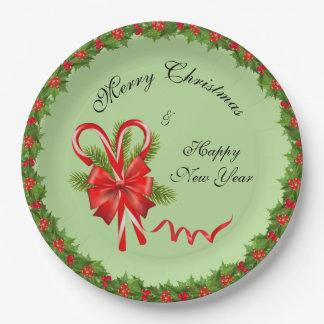 Prato De Papel Bagas Natal do azevinho e bastões de doces