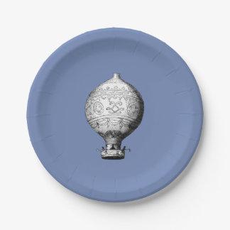 Prato De Papel Balão de ar quente do vintage de Montgolfier