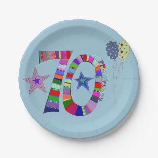 Prato De Papel Balões coloridos do aniversário feliz do 70